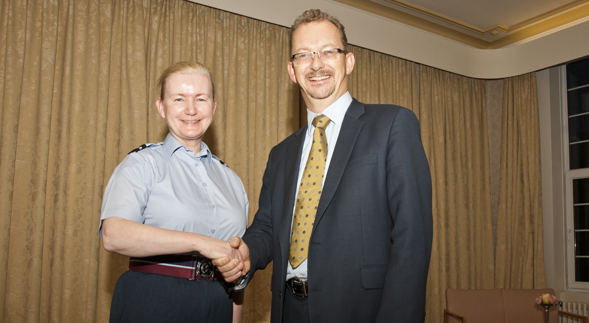 Air Commodore Jayne Millington Air Officer Battlespace Management with NATS Chief Executive, Richard Deakin.