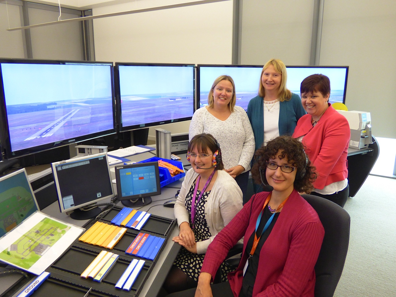 Front: Angela Barski, NATS Training Internal Standards Officer, Rachel Bovill, Qualification Development Manager NOCN, Standing:  Ann Maxwell, ADI Course Manager, Sandy Pickford, NATS Training Coordinator, Jane Jones, NOCN Director of Business Development.
