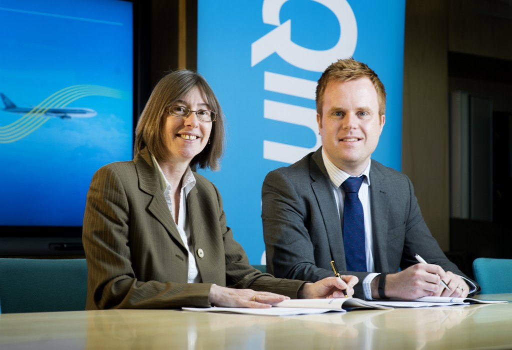 NATS Managing Director Services, Catherine Mason and Simon Galt, Qinetiq Procurement Director