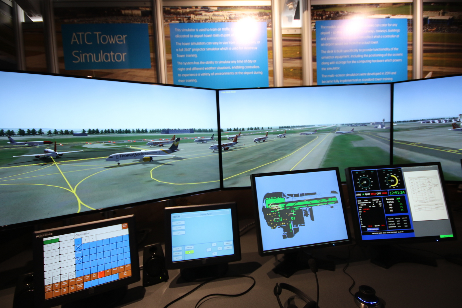 Air Traffic Control Simulator Showing Planes Lining Up For