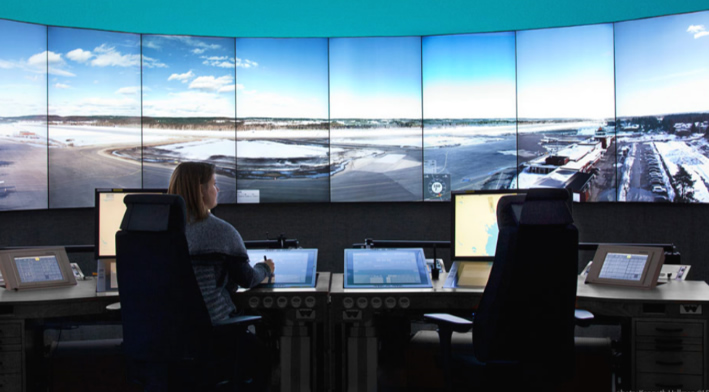 Virtual Control Room: offering a remote facility to the runway. Image provided by SAAB