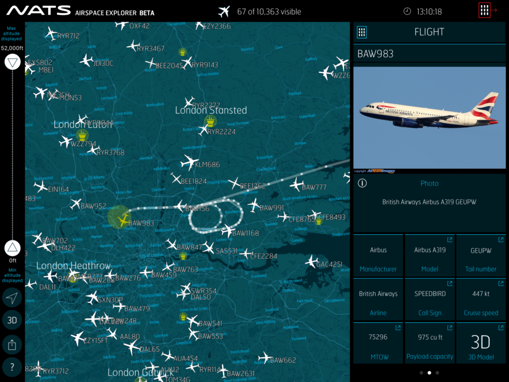 A screenshot form our Airspace Explorer App