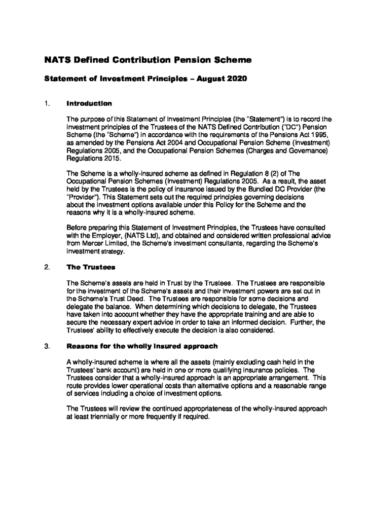 pensions act 1995 statement of investment principles for dummies